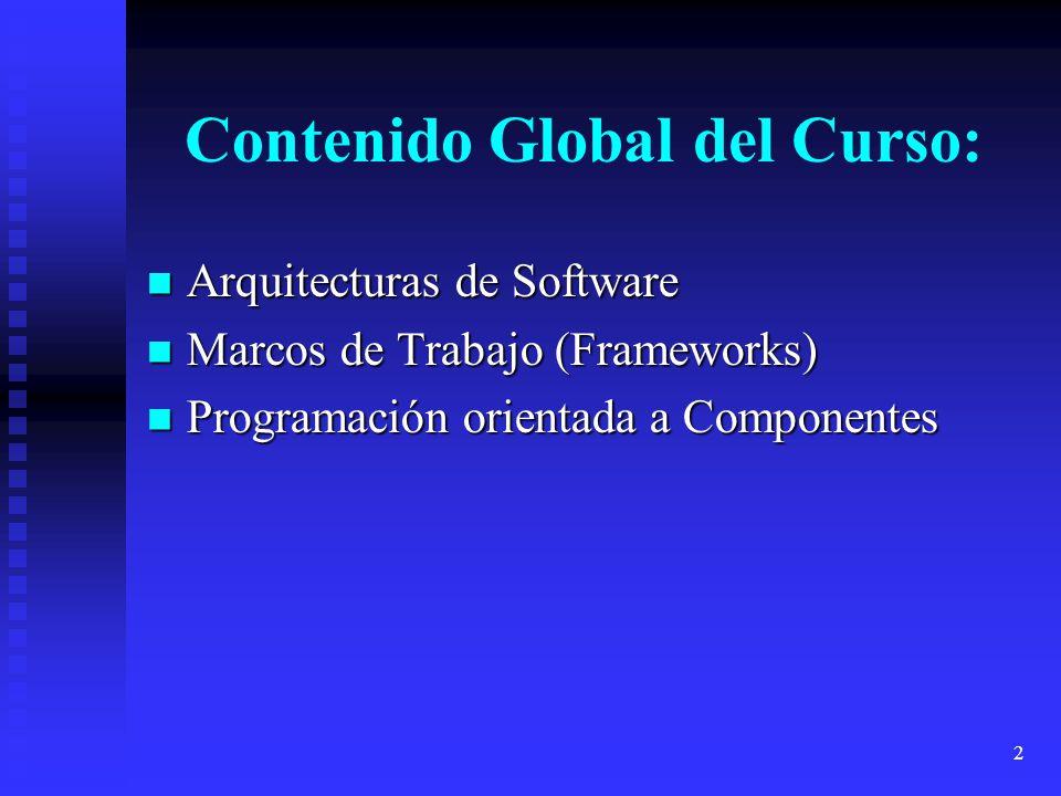 2 Contenido Global del Curso: Arquitecturas de Software Arquitecturas de Software Marcos de Trabajo (Frameworks) Marcos de Trabajo (Frameworks) Progra