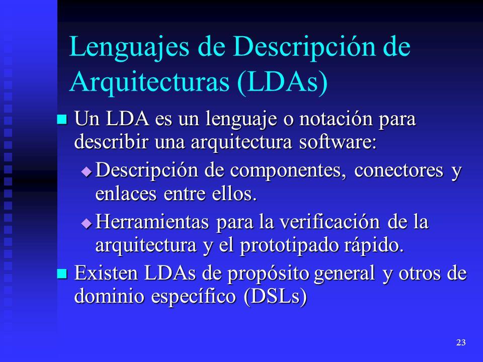 23 Lenguajes de Descripción de Arquitecturas (LDAs) Un LDA es un lenguaje o notación para describir una arquitectura software: Un LDA es un lenguaje o