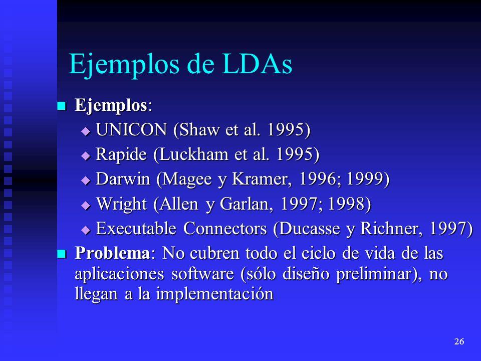 26 Ejemplos de LDAs Ejemplos: Ejemplos: UNICON (Shaw et al. 1995) UNICON (Shaw et al. 1995) Rapide (Luckham et al. 1995) Rapide (Luckham et al. 1995)
