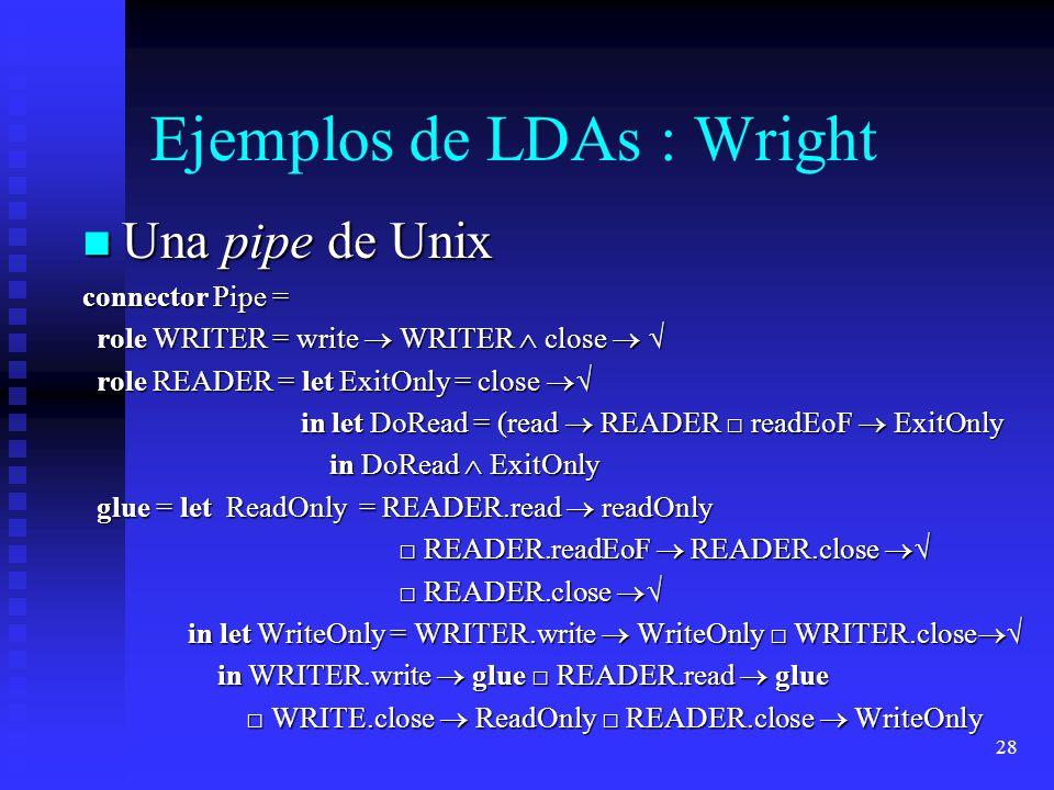 28 Ejemplos de LDAs : Wright Una pipe de Unix Una pipe de Unix connector Pipe = role WRITER = write WRITER close role WRITER = write WRITER close role