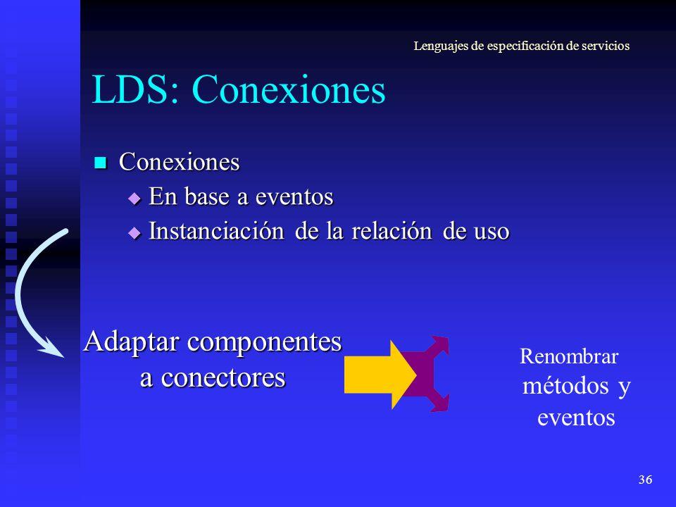 36 LDS: Conexiones Conexiones Conexiones En base a eventos En base a eventos Instanciación de la relación de uso Instanciación de la relación de uso L