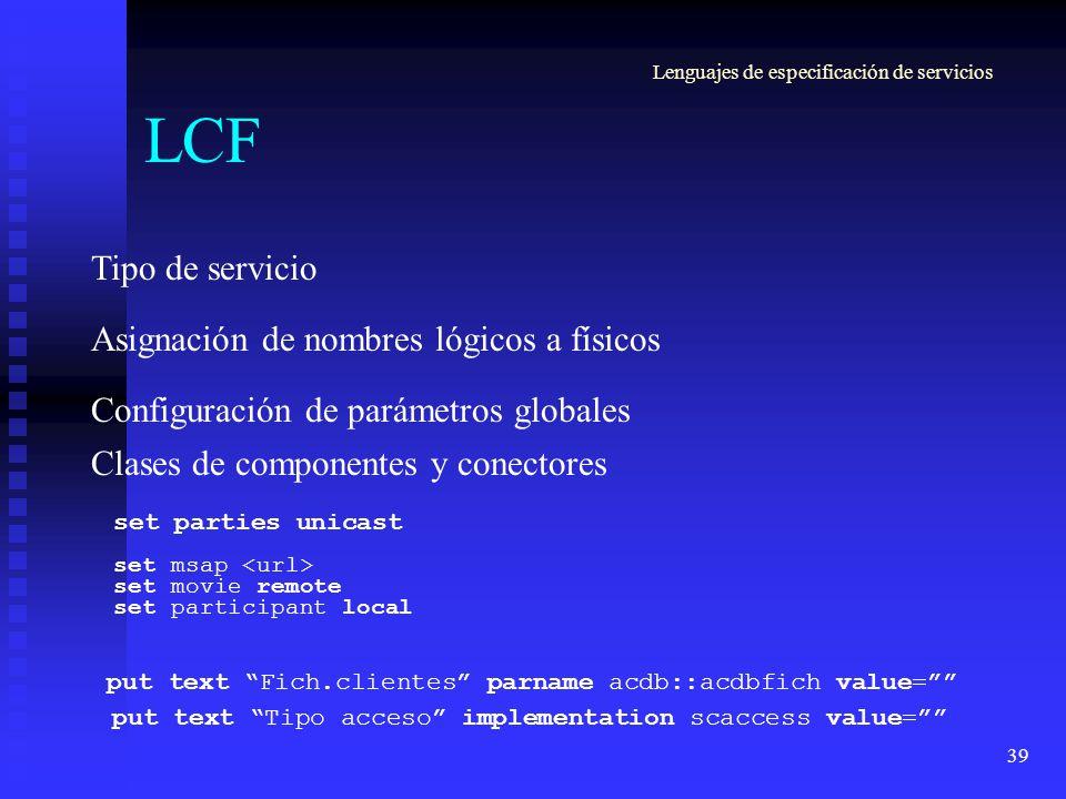 39 LCF Asignación de nombres lógicos a físicos set msap set movie remote set participant local Configuración de parámetros globales put text Fich.clie