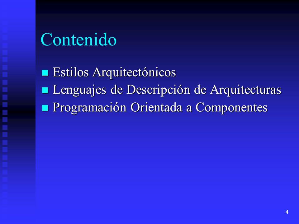 5 Introducción Sistemas Abiertos Sistemas Abiertos Características y Problemática Características y Problemática Estilos Arquitectónicos Estilos Arquitectónicos Lenguajes de Descripción de arquitecturas Lenguajes de Descripción de arquitecturas Ingeniería del Software basada en Componentes (CBSE) Ingeniería del Software basada en Componentes (CBSE) Arquitectura Software y COTS Arquitectura Software y COTS