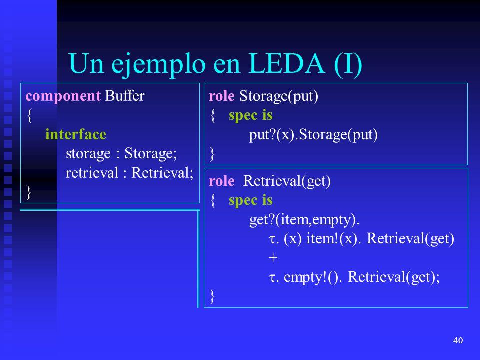40 Un ejemplo en LEDA (I) component Buffer { interface storage : Storage; retrieval : Retrieval; } role Storage(put) { spec is put?(x).Storage(put) }