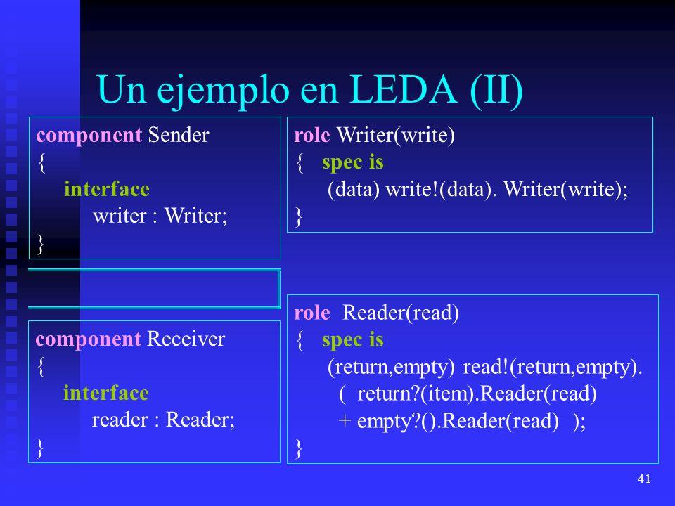 41 Un ejemplo en LEDA (II) component Sender { interface writer : Writer; } role Writer(write) { spec is (data) write!(data). Writer(write); } role Rea