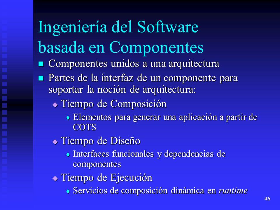 46 Ingeniería del Software basada en Componentes Componentes unidos a una arquitectura Componentes unidos a una arquitectura Partes de la interfaz de