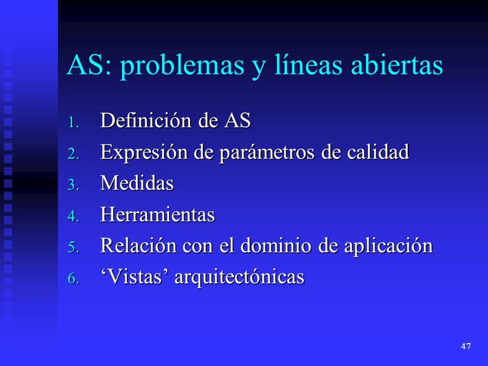 47 AS: problemas y líneas abiertas 1. Definición de AS 2. Expresión de parámetros de calidad 3. Medidas 4. Herramientas 5. Relación con el dominio de
