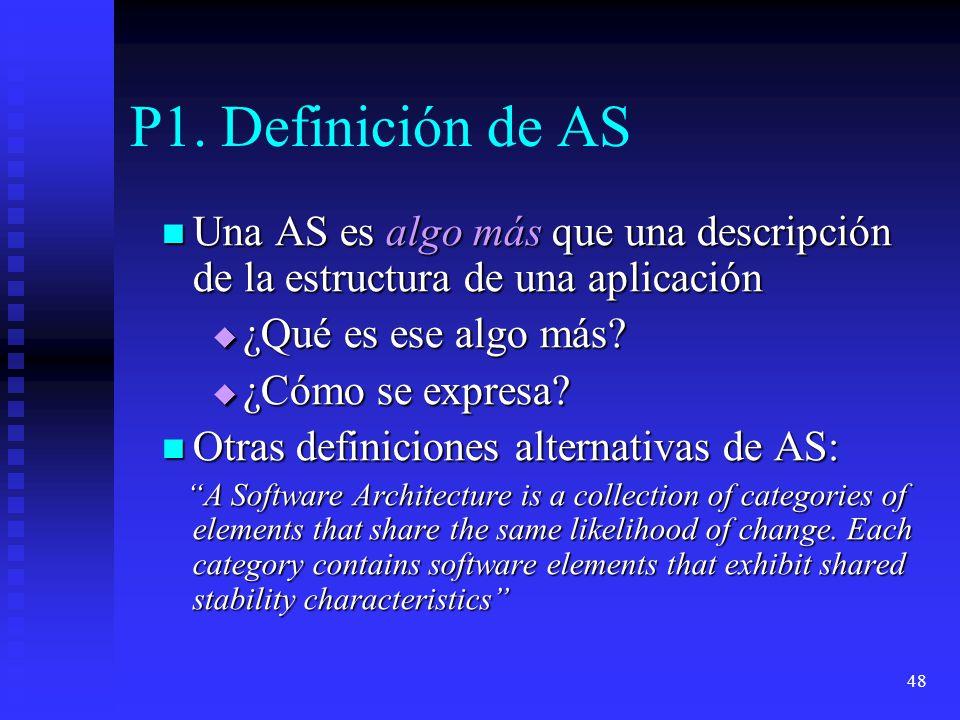 48 P1. Definición de AS Una AS es algo más que una descripción de la estructura de una aplicación Una AS es algo más que una descripción de la estruct
