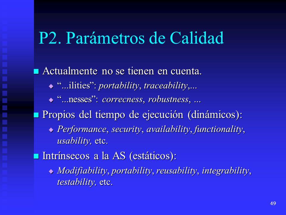 49 P2. Parámetros de Calidad Actualmente no se tienen en cuenta. Actualmente no se tienen en cuenta....ilities: portability, traceability,......ilitie