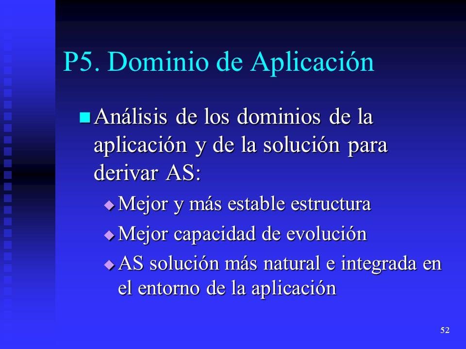 52 P5. Dominio de Aplicación Análisis de los dominios de la aplicación y de la solución para derivar AS: Análisis de los dominios de la aplicación y d