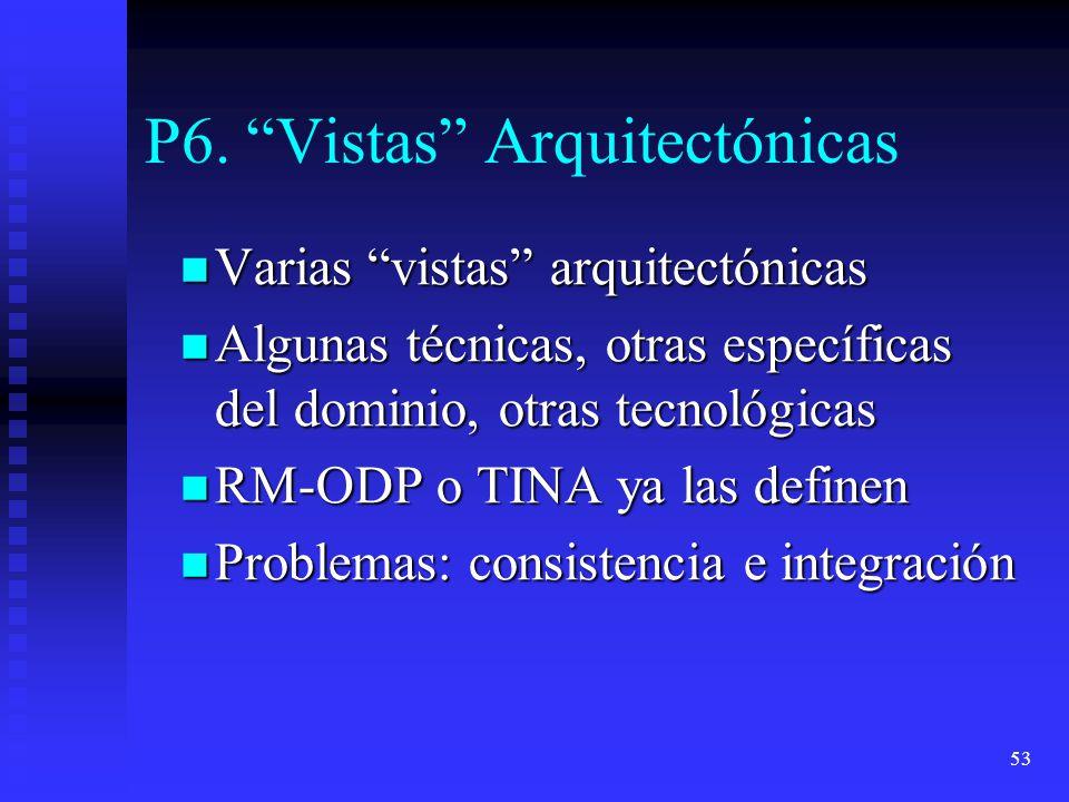 53 P6. Vistas Arquitectónicas Varias vistas arquitectónicas Varias vistas arquitectónicas Algunas técnicas, otras específicas del dominio, otras tecno