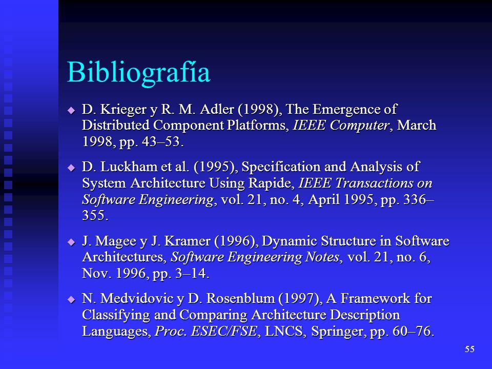 55 Bibliografía D. Krieger y R. M. Adler (1998), The Emergence of Distributed Component Platforms, IEEE Computer, March 1998, pp. 43–53. D. Krieger y
