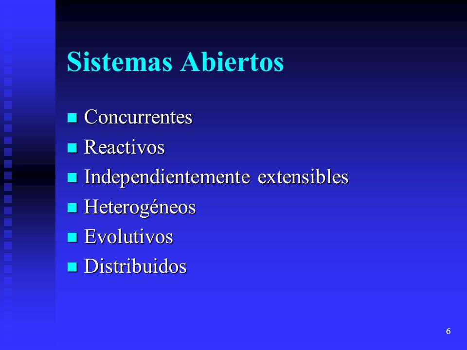 6 Sistemas Abiertos Concurrentes Concurrentes Reactivos Reactivos Independientemente extensibles Independientemente extensibles Heterogéneos Heterogén