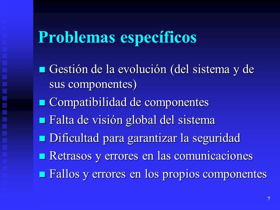 7 Problemas específicos Gestión de la evolución (del sistema y de sus componentes) Gestión de la evolución (del sistema y de sus componentes) Compatib