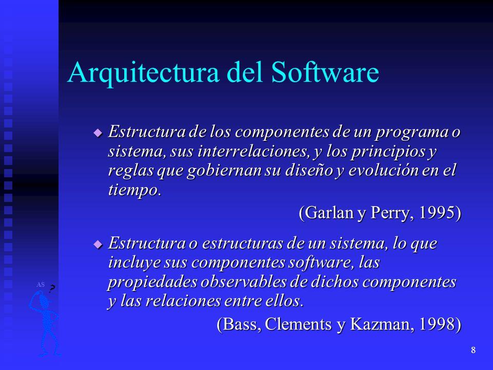 8 Arquitectura del Software Estructura de los componentes de un programa o sistema, sus interrelaciones, y los principios y reglas que gobiernan su di
