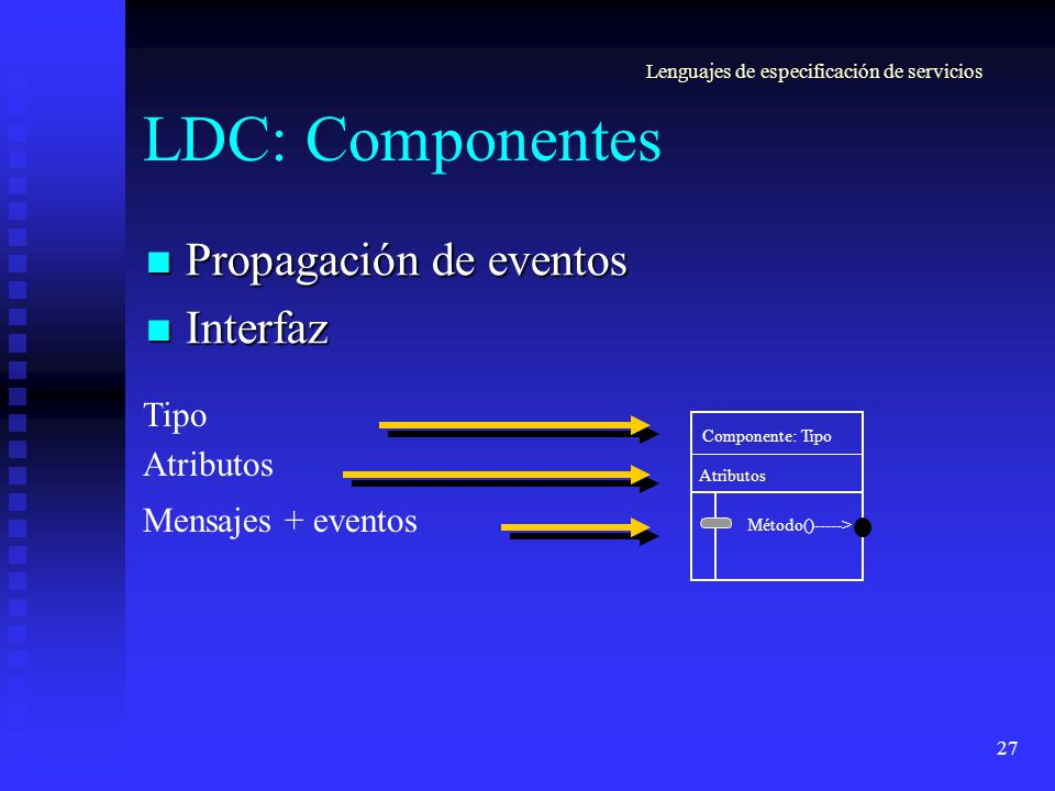 27 LDC: Componentes Propagación de eventos Propagación de eventos Interfaz Interfaz Componente: Tipo Método()-----> Atributos Tipo Atributos Mensajes + eventos Lenguajes de especificación de servicios