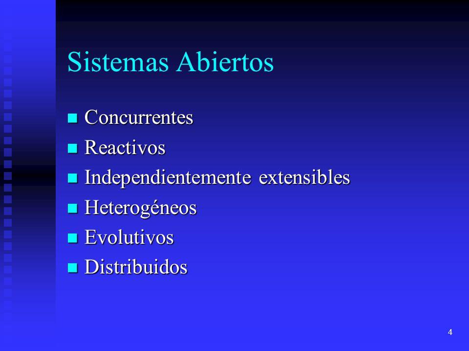 4 Sistemas Abiertos Concurrentes Concurrentes Reactivos Reactivos Independientemente extensibles Independientemente extensibles Heterogéneos Heterogéneos Evolutivos Evolutivos Distribuidos Distribuidos