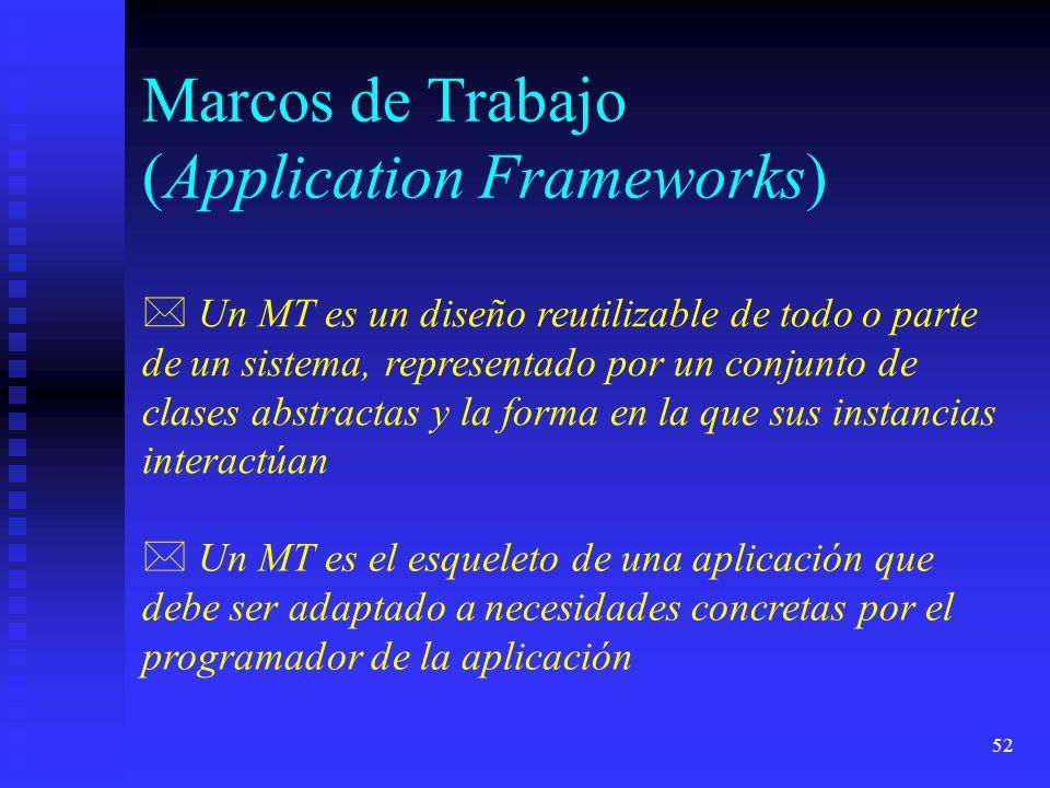 52 Marcos de Trabajo (Application Frameworks) * Un MT es un diseño reutilizable de todo o parte de un sistema, representado por un conjunto de clases abstractas y la forma en la que sus instancias interactúan * Un MT es el esqueleto de una aplicación que debe ser adaptado a necesidades concretas por el programador de la aplicación
