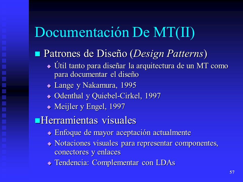 57 Documentación De MT(II) Patrones de Diseño (Design Patterns) Patrones de Diseño (Design Patterns) Útil tanto para diseñar la arquitectura de un MT como para documentar el diseño Útil tanto para diseñar la arquitectura de un MT como para documentar el diseño Lange y Nakamura, 1995 Lange y Nakamura, 1995 Odenthal y Quiebel-Cirkel, 1997 Odenthal y Quiebel-Cirkel, 1997 Meijler y Engel, 1997 Meijler y Engel, 1997 Herramientas visuales Herramientas visuales Enfoque de mayor aceptación actualmente Enfoque de mayor aceptación actualmente Notaciones visuales para representar componentes, conectores y enlaces Notaciones visuales para representar componentes, conectores y enlaces Tendencia: Complementar con LDAs Tendencia: Complementar con LDAs