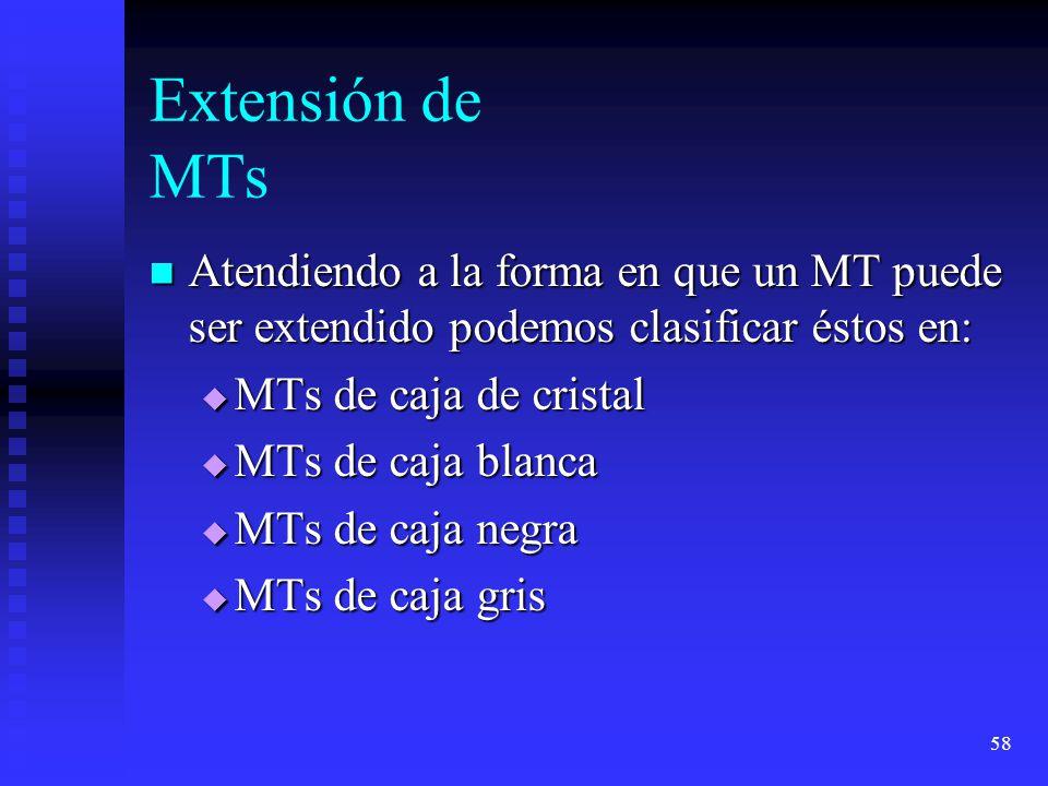 58 Extensión de MTs Atendiendo a la forma en que un MT puede ser extendido podemos clasificar éstos en: Atendiendo a la forma en que un MT puede ser extendido podemos clasificar éstos en: MTs de caja de cristal MTs de caja de cristal MTs de caja blanca MTs de caja blanca MTs de caja negra MTs de caja negra MTs de caja gris MTs de caja gris