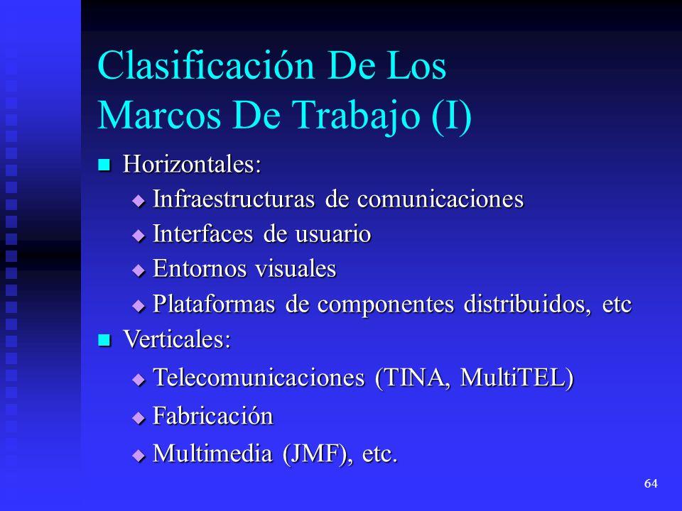 64 Clasificación De Los Marcos De Trabajo (I) Horizontales: Horizontales: Infraestructuras de comunicaciones Infraestructuras de comunicaciones Interfaces de usuario Interfaces de usuario Entornos visuales Entornos visuales Plataformas de componentes distribuidos, etc Plataformas de componentes distribuidos, etc Verticales: Verticales: Telecomunicaciones (TINA, MultiTEL) Telecomunicaciones (TINA, MultiTEL) Fabricación Fabricación Multimedia (JMF), etc.