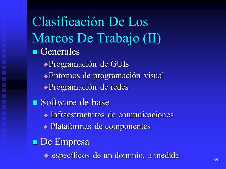 65 Clasificación De Los Marcos De Trabajo (II) Software de base Software de base Infraestructuras de comunicaciones Infraestructuras de comunicaciones Plataformas de componentes Plataformas de componentes Generales Generales Programación de GUIs Programación de GUIs Entornos de programación visual Entornos de programación visual Programación de redes Programación de redes De Empresa De Empresa específicos de un dominio, a medida específicos de un dominio, a medida