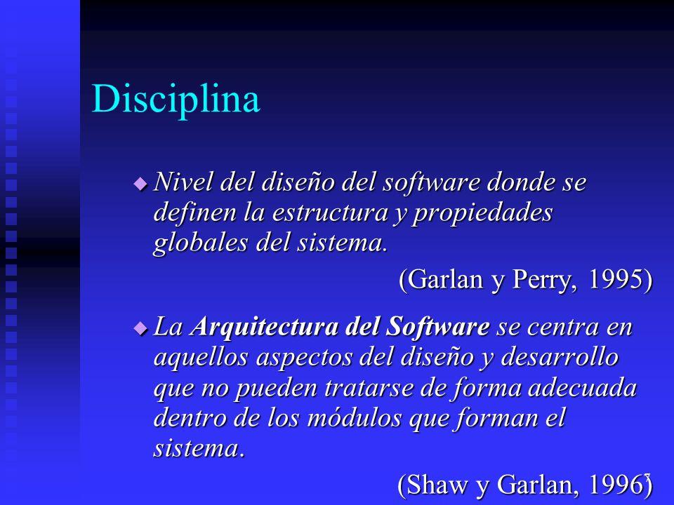 18 Lenguajes de Descripción de Arquitecturas (LDAs) Un LDA es un lenguaje o notación para describir una arquitectura software: Un LDA es un lenguaje o notación para describir una arquitectura software: Descripción de componentes, conectores y enlaces entre ellos.