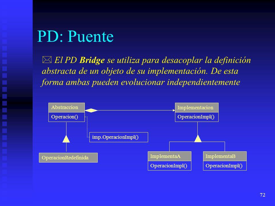72 PD: Puente * El PD Bridge se utiliza para desacoplar la definición abstracta de un objeto de su implementación.