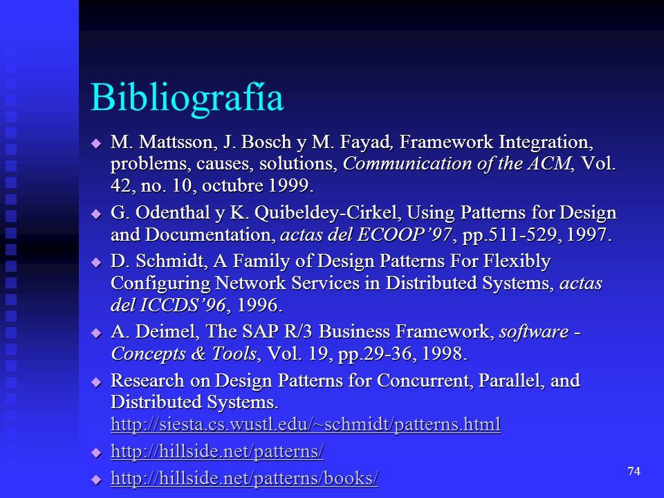 74 Bibliografía M. Mattsson, J. Bosch y M.