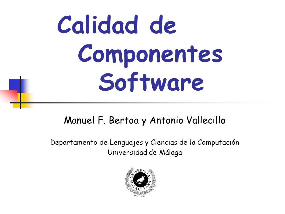 Calidad de Componentes Software32 La Usabilidad en DSBC ISO 9126 La capacidad del componente para ser entendido, comprendido, usado y atractivo para el usuario cuando se usa bajo unas determinadas condiciones The capability of the component to be understood, learned, used and attractive to the user, when used under specified conditions