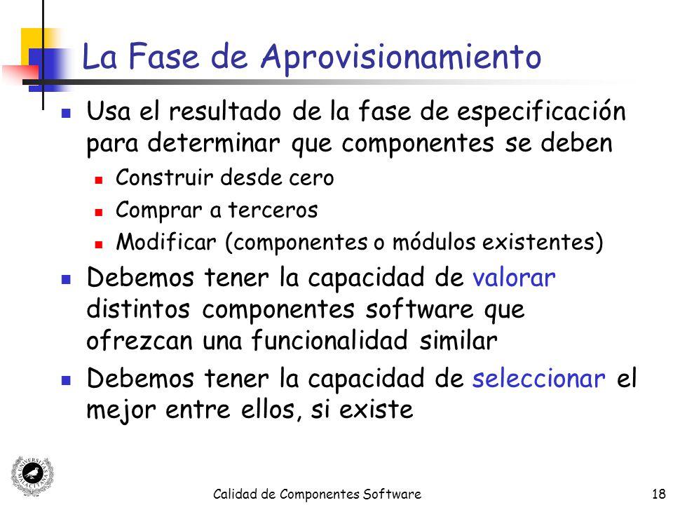 Calidad de Componentes Software18 La Fase de Aprovisionamiento Usa el resultado de la fase de especificación para determinar que componentes se deben