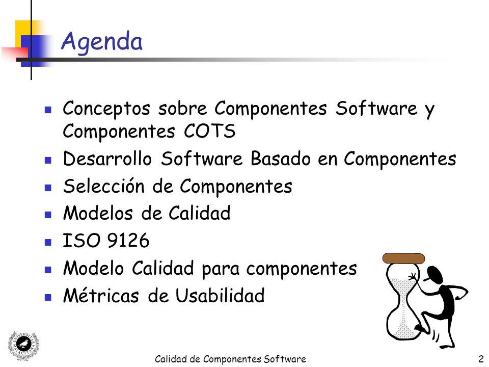 Calidad de Componentes Software53 Ciclo de Vida DSBC: Especificación (2) Utiliza como entrada los requisitos funcionales y extra-funcionales, la información sobre software existente (sistemas heredados, paquetes y bases de datos), y las restricciones técnicas (uso de un estilo arquitectónico o herramienta particular) Genera un conjunto de especificaciones de componentes incluyendo las especificaciones de las interfaces ofrecidas y requeridas y una arquitectura de componentes mostrando como interactúan los componentes entre ellos
