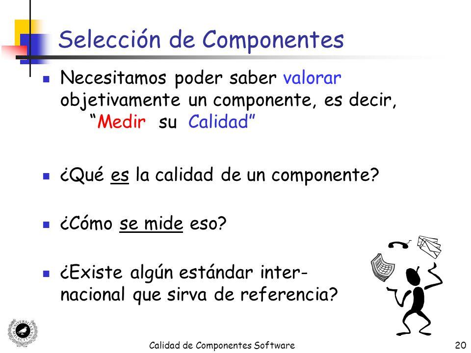 Calidad de Componentes Software20 Selección de Componentes Necesitamos poder saber valorar objetivamente un componente, es decir,Medir su Calidad ¿Qué