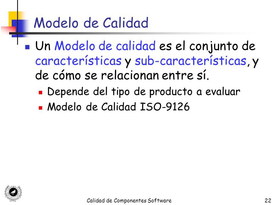 Calidad de Componentes Software22 Modelo de Calidad Un Modelo de calidad es el conjunto de características y sub-características, y de cómo se relacio