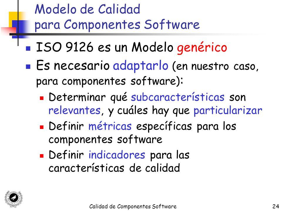 Calidad de Componentes Software24 Modelo de Calidad para Componentes Software ISO 9126 es un Modelo genérico Es necesario adaptarlo (en nuestro caso,
