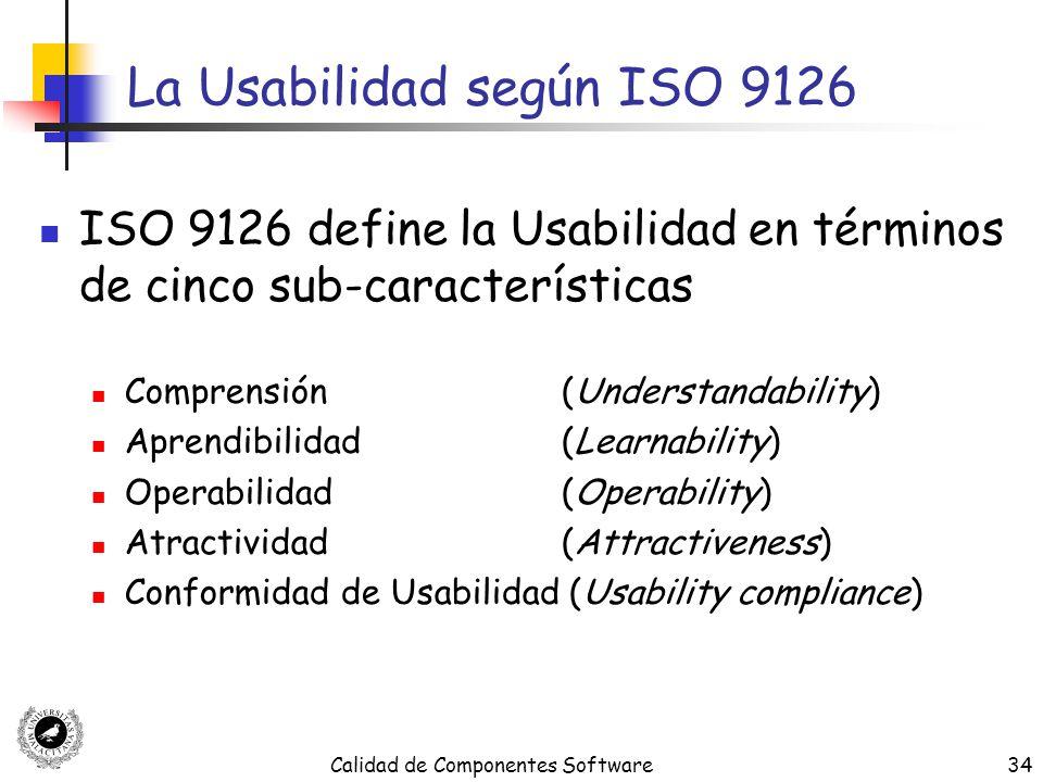 Calidad de Componentes Software34 La Usabilidad según ISO 9126 ISO 9126 define la Usabilidad en términos de cinco sub-características Comprensión (Und