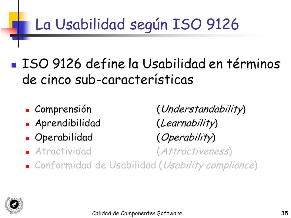 Calidad de Componentes Software35 La Usabilidad según ISO 9126 ISO 9126 define la Usabilidad en términos de cinco sub-características Comprensión (Und