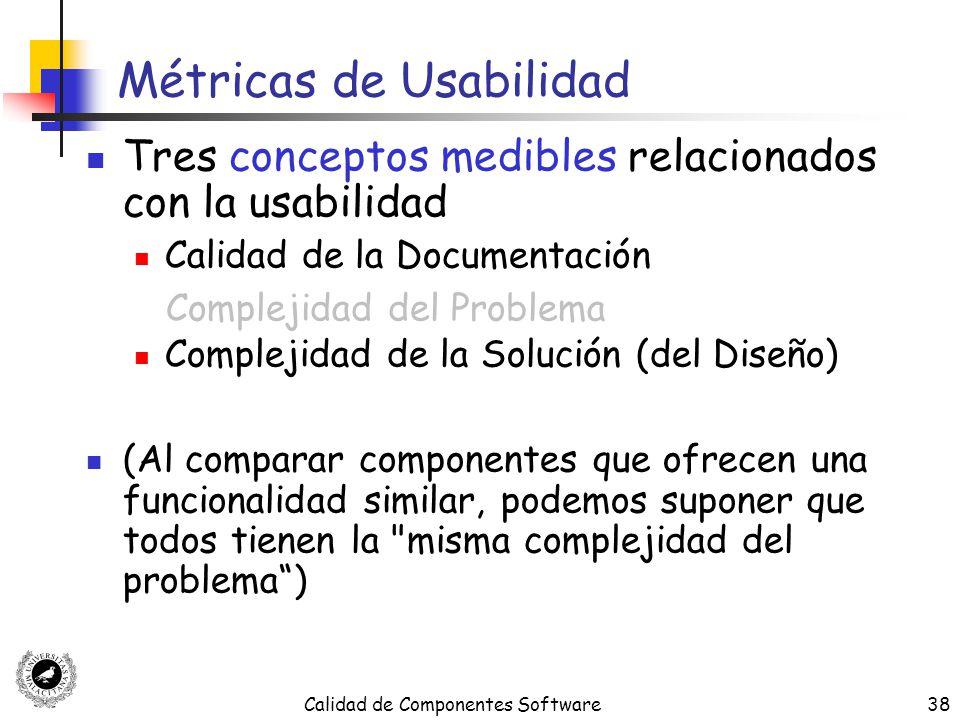 Calidad de Componentes Software38 Métricas de Usabilidad Tres conceptos medibles relacionados con la usabilidad Calidad de la Documentación Complejida