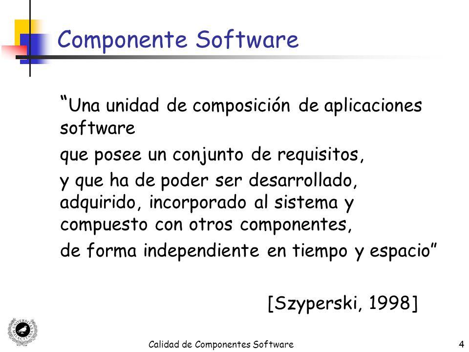 Calidad de Componentes Software35 La Usabilidad según ISO 9126 ISO 9126 define la Usabilidad en términos de cinco sub-características Comprensión (Understandability) Aprendibilidad (Learnability) Operabilidad (Operability) Atractividad (Attractiveness) Conformidad de Usabilidad (Usability compliance)
