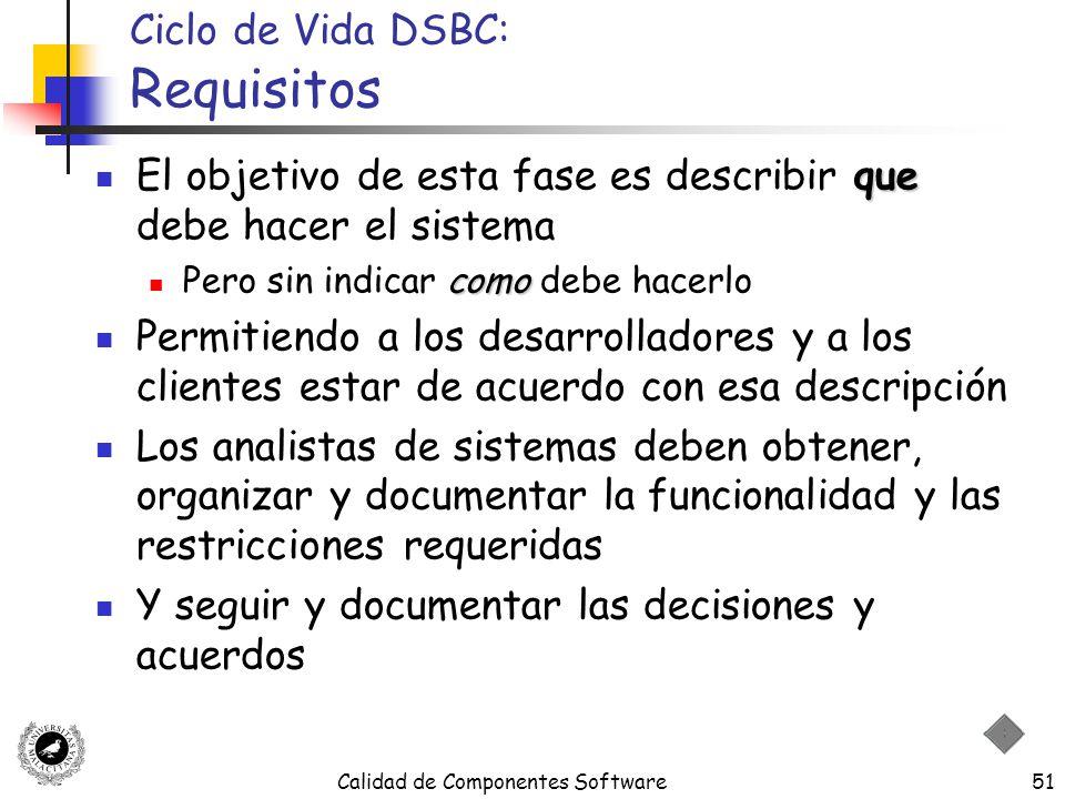 Calidad de Componentes Software51 Ciclo de Vida DSBC: Requisitos que El objetivo de esta fase es describir que debe hacer el sistema como Pero sin ind