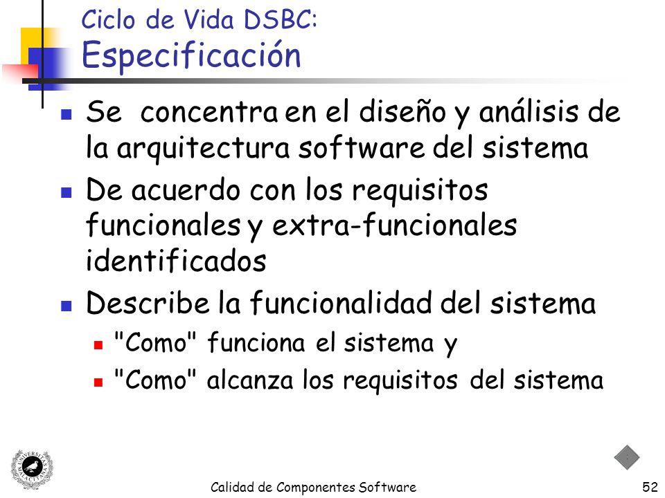 Calidad de Componentes Software52 Ciclo de Vida DSBC: Especificación Se concentra en el diseño y análisis de la arquitectura software del sistema De a
