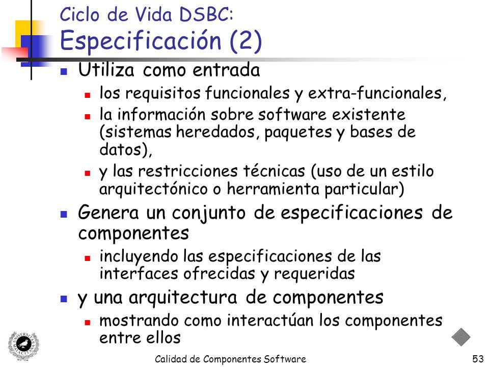Calidad de Componentes Software53 Ciclo de Vida DSBC: Especificación (2) Utiliza como entrada los requisitos funcionales y extra-funcionales, la infor