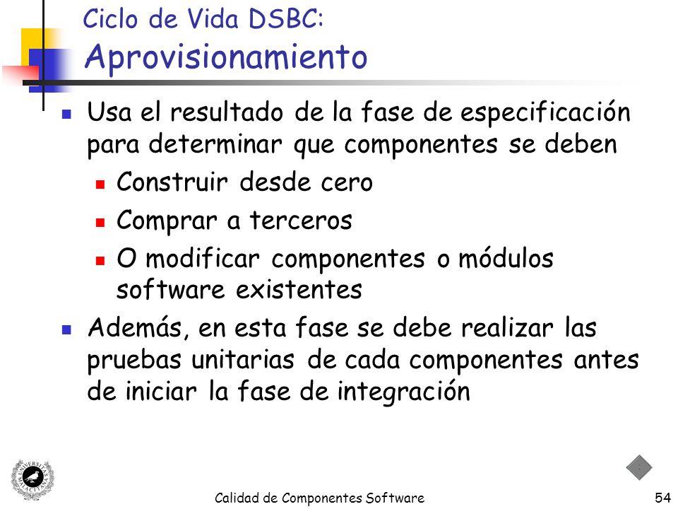 Calidad de Componentes Software54 Ciclo de Vida DSBC: Aprovisionamiento Usa el resultado de la fase de especificación para determinar que componentes