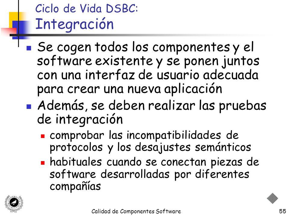 Calidad de Componentes Software55 Ciclo de Vida DSBC: Integración Se cogen todos los componentes y el software existente y se ponen juntos con una int