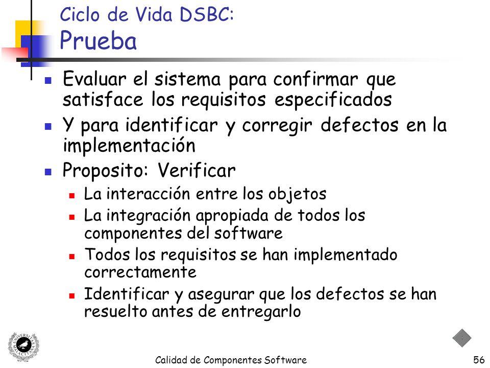 Calidad de Componentes Software56 Ciclo de Vida DSBC: Prueba Evaluar el sistema para confirmar que satisface los requisitos especificados Y para ident