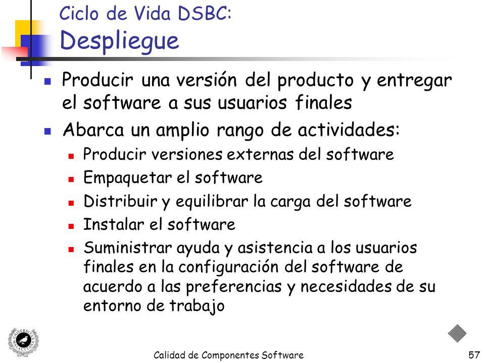 Calidad de Componentes Software57 Ciclo de Vida DSBC: Despliegue Producir una versión del producto y entregar el software a sus usuarios finales Abarc