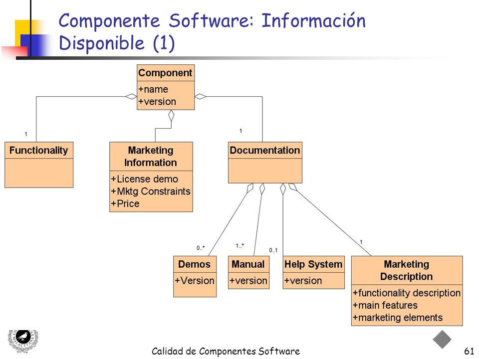 Calidad de Componentes Software61 Componente Software: Información Disponible (1)