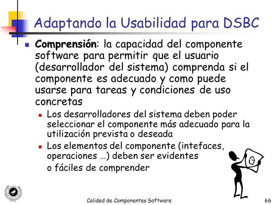 Calidad de Componentes Software66 Adaptando la Usabilidad para DSBC Comprensión Comprensión: la capacidad del componente software para permitir que el