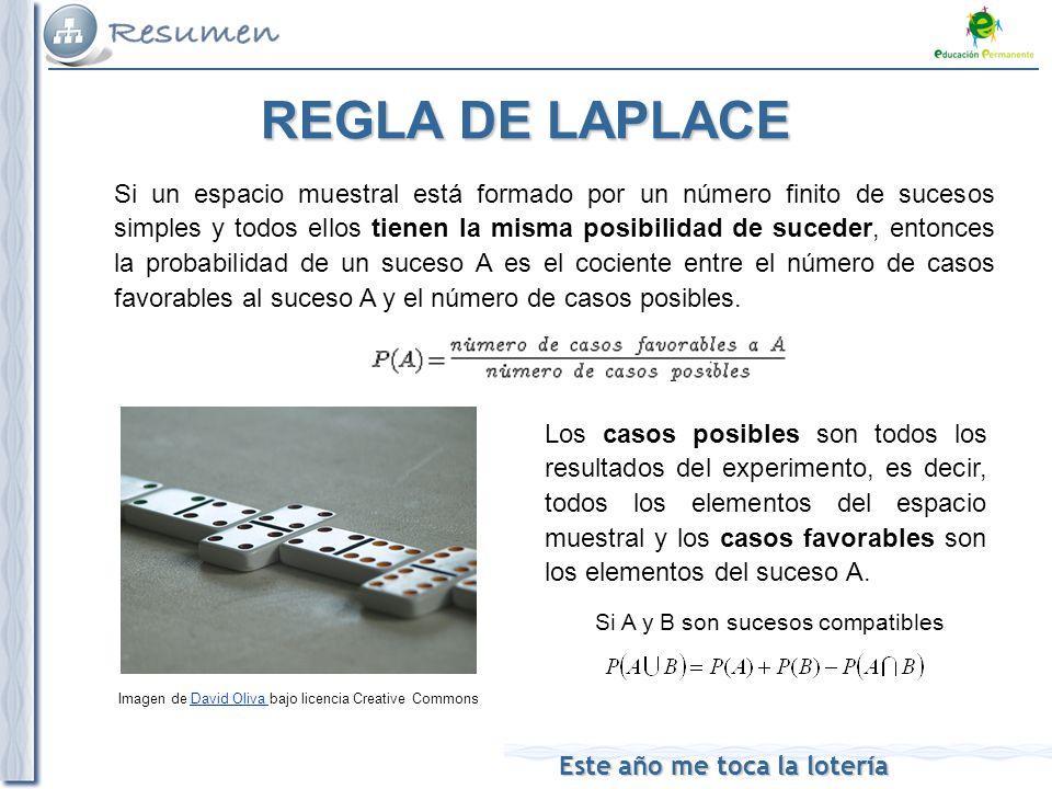 Este año me toca la lotería REGLA DE LAPLACE Si un espacio muestral está formado por un número finito de sucesos simples y todos ellos tienen la misma