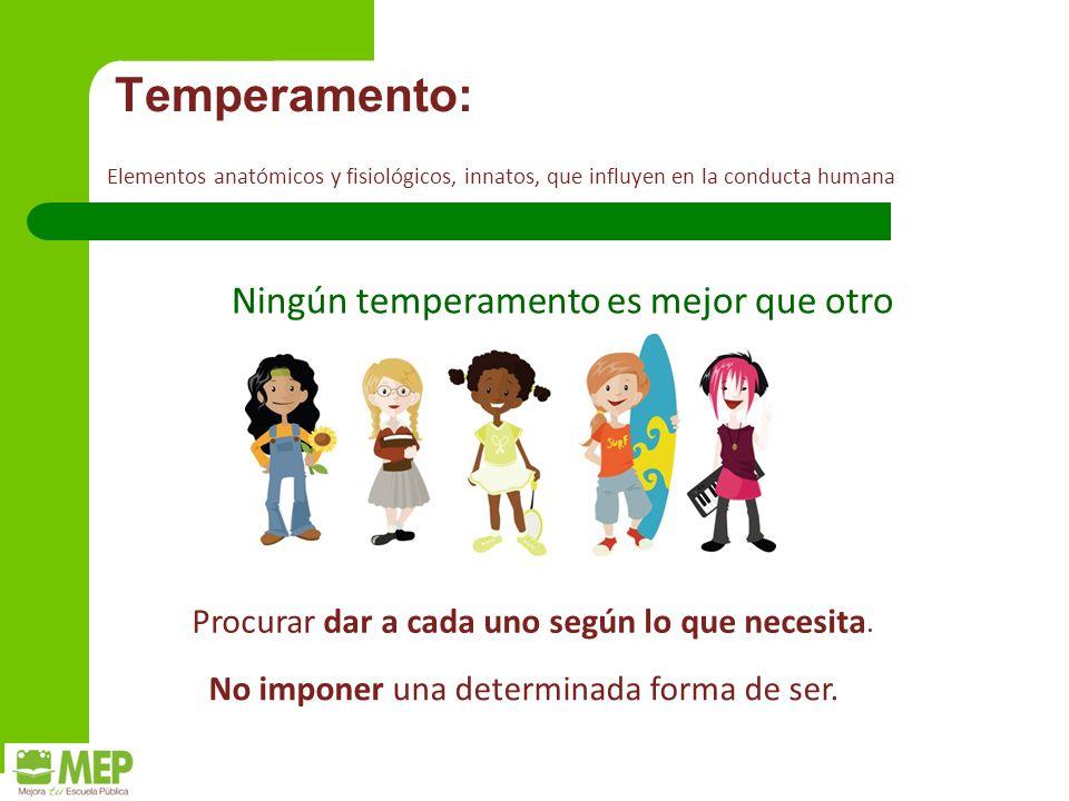 Temperamento: Ningún temperamento es mejor que otro Procurar dar a cada uno según lo que necesita.